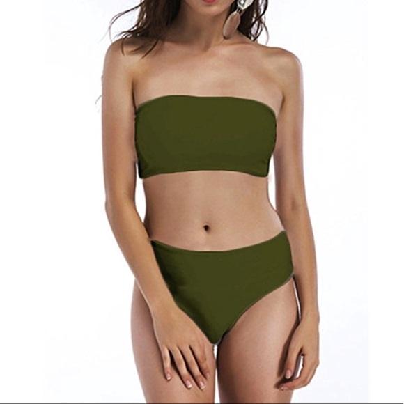530659c73b6 Women s Retro Tube Top Bikini Set Strapless
